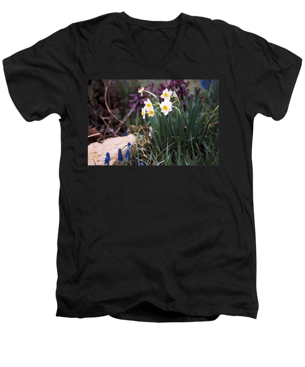 Flowers Men's V-Neck T-Shirt featuring the photograph Spring Garden by Steve Karol