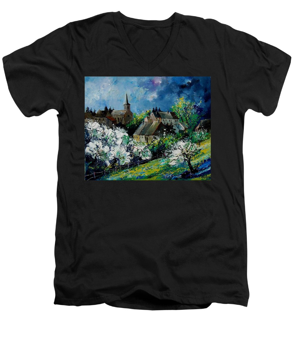 Spring Men's V-Neck T-Shirt featuring the painting Spring In Fays Famenne by Pol Ledent