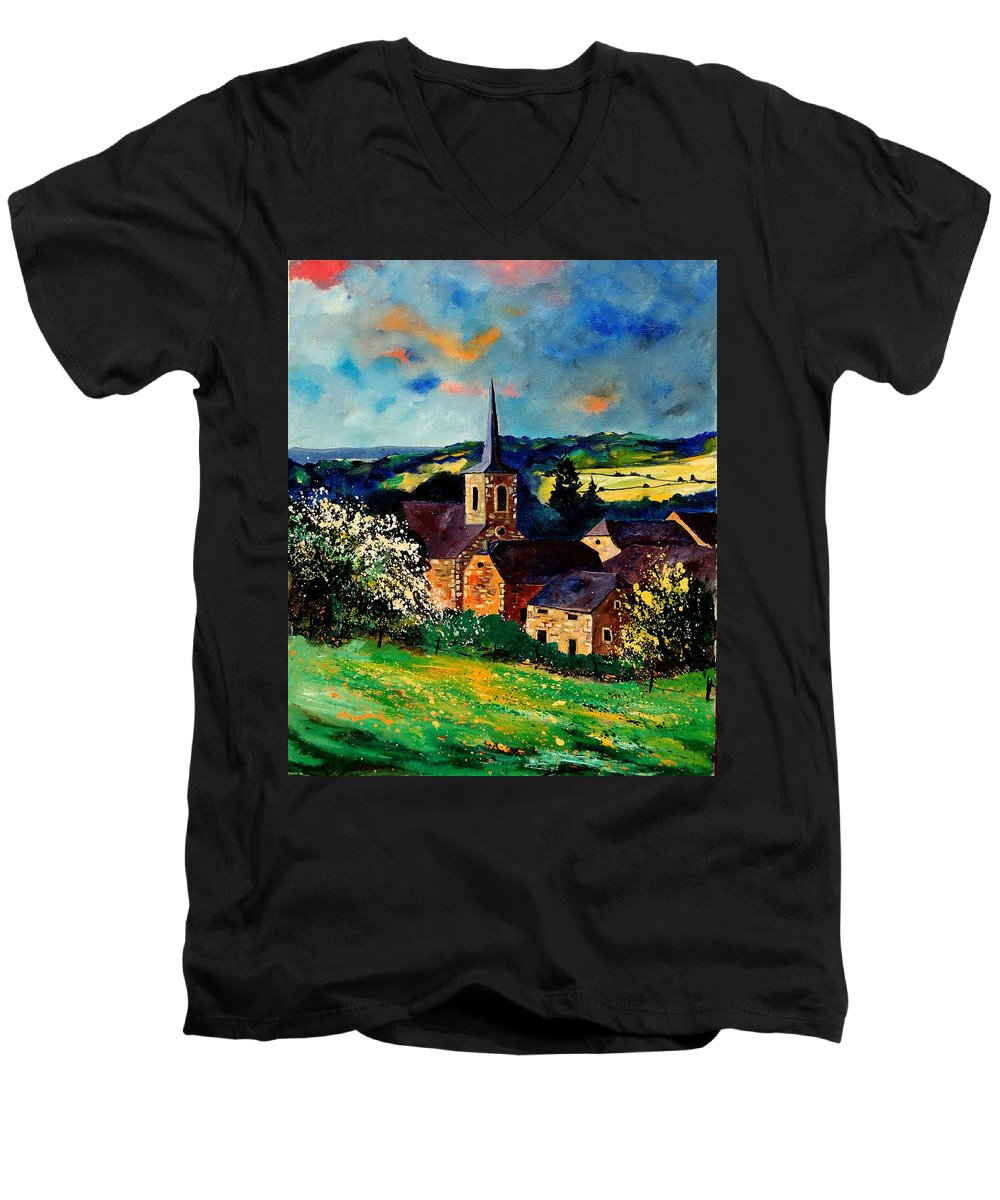 Spring Men's V-Neck T-Shirt featuring the painting Spring In Gendron by Pol Ledent