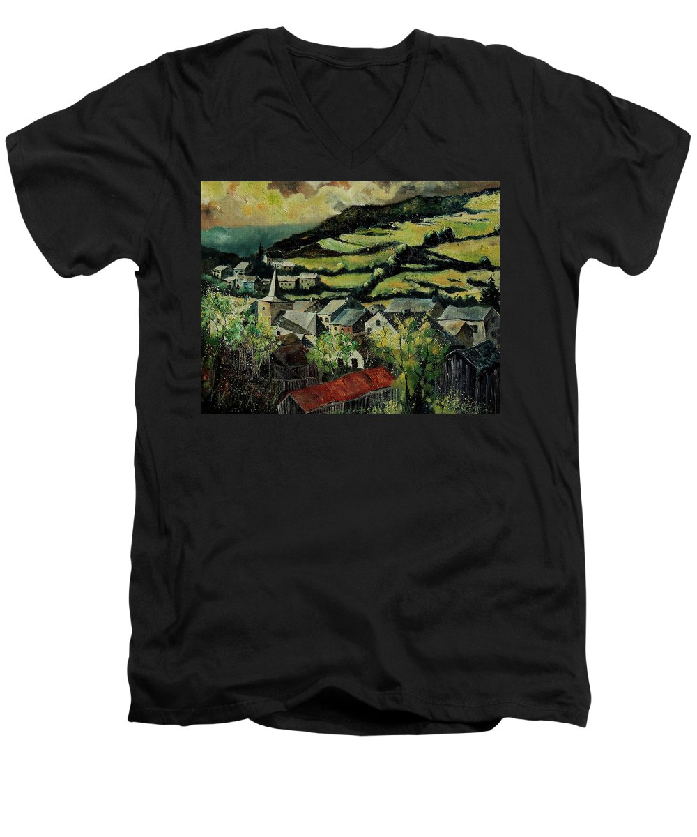 Spring Men's V-Neck T-Shirt featuring the painting Spring In Vresse Ardennes Belgium by Pol Ledent