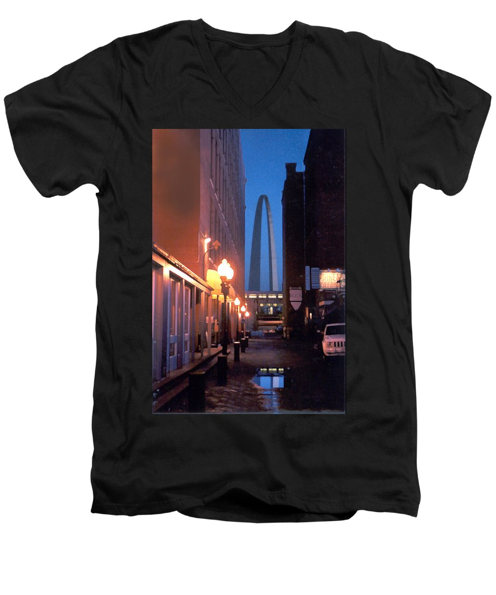 St. Louis Men's V-Neck T-Shirt featuring the photograph St. Louis Arch by Steve Karol