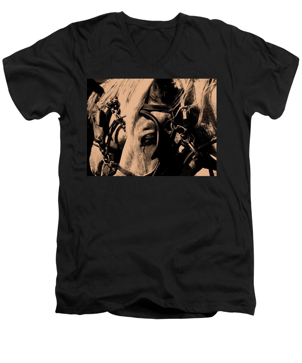 Horse Men's V-Neck T-Shirt featuring the photograph Stage Coach Horses by Wayne Potrafka
