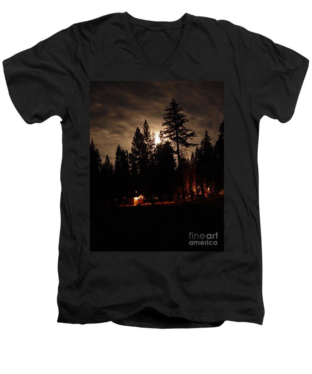 Moonlight Men's V-Neck T-Shirt featuring the photograph Star Lit Camp by Peter Piatt