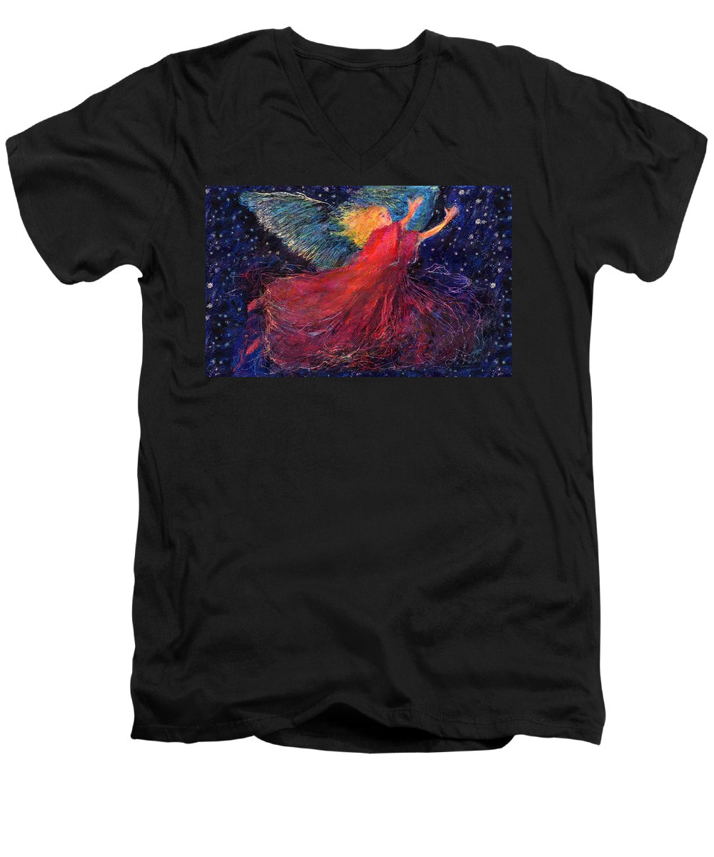 Angel Men's V-Neck T-Shirt featuring the painting Starry Angel by Diana Ludwig