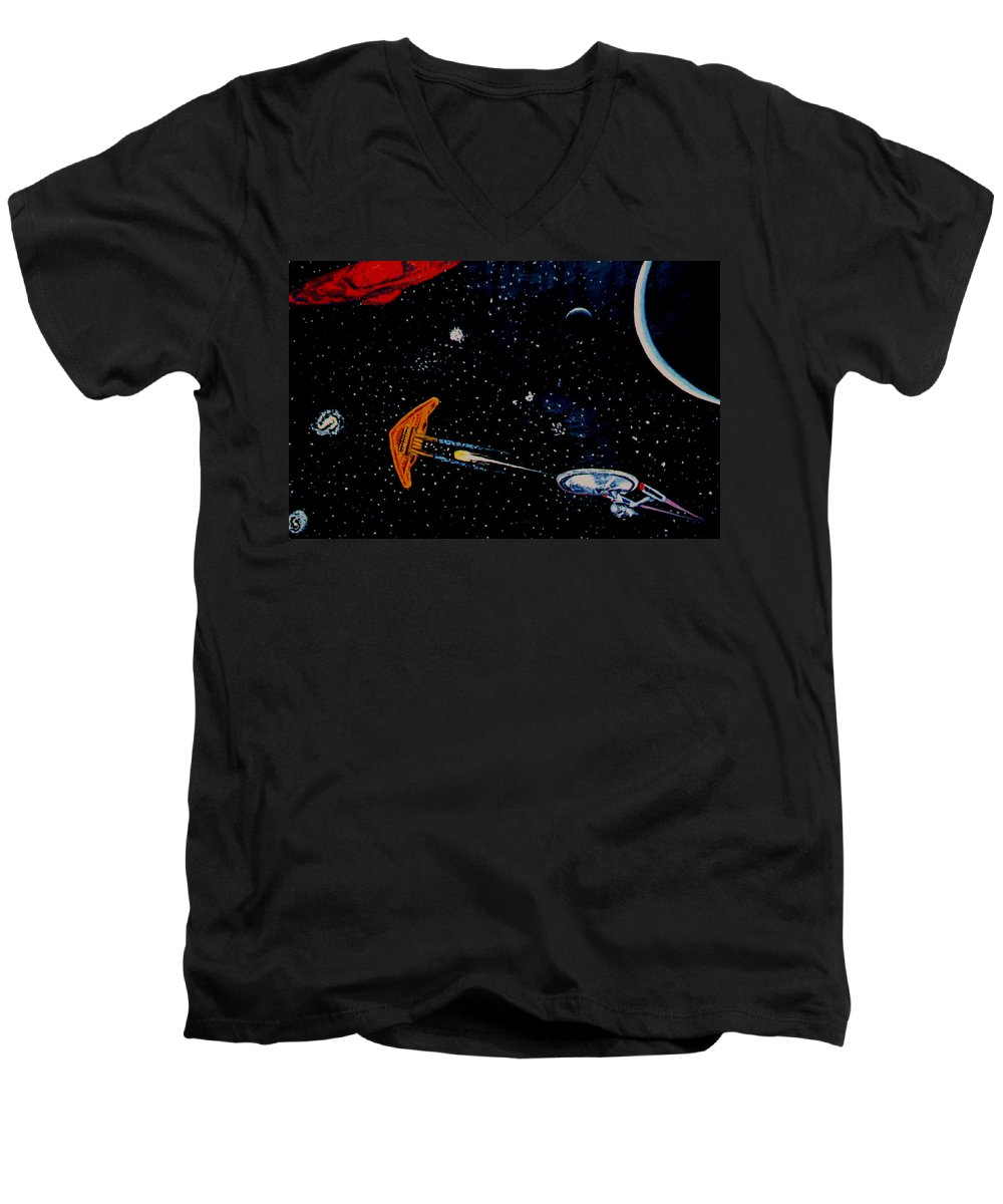 Startrel.scoemce Foxopm.s[ace.[;amets.stars Men's V-Neck T-Shirt featuring the painting Startrek by Stan Hamilton
