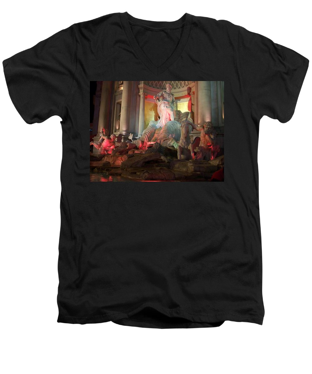 Ceasars Palace Men's V-Neck T-Shirt featuring the photograph Statues At Ceasars Palace by Anita Burgermeister