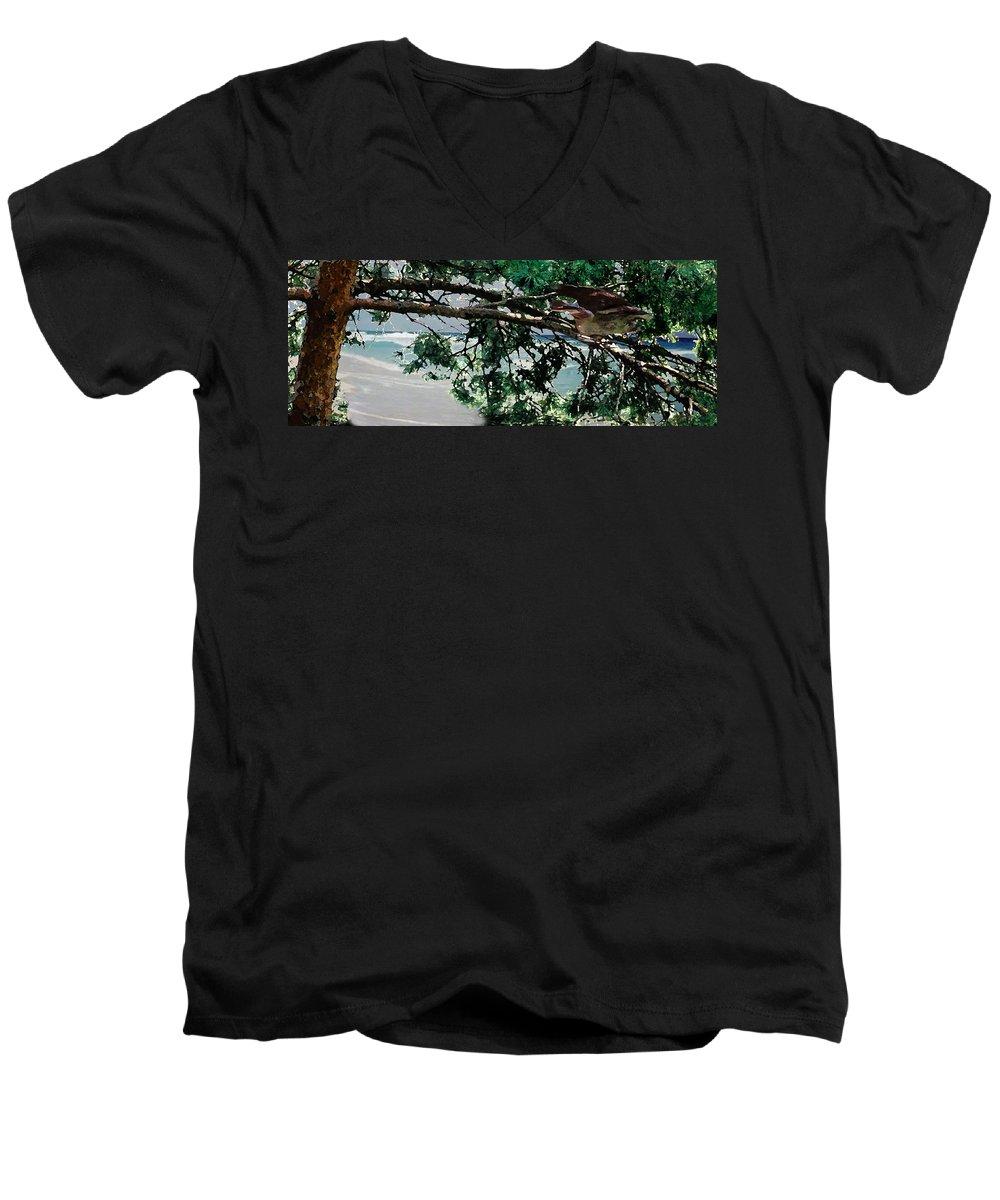 Landscape Men's V-Neck T-Shirt featuring the painting Stealth by Steve Karol