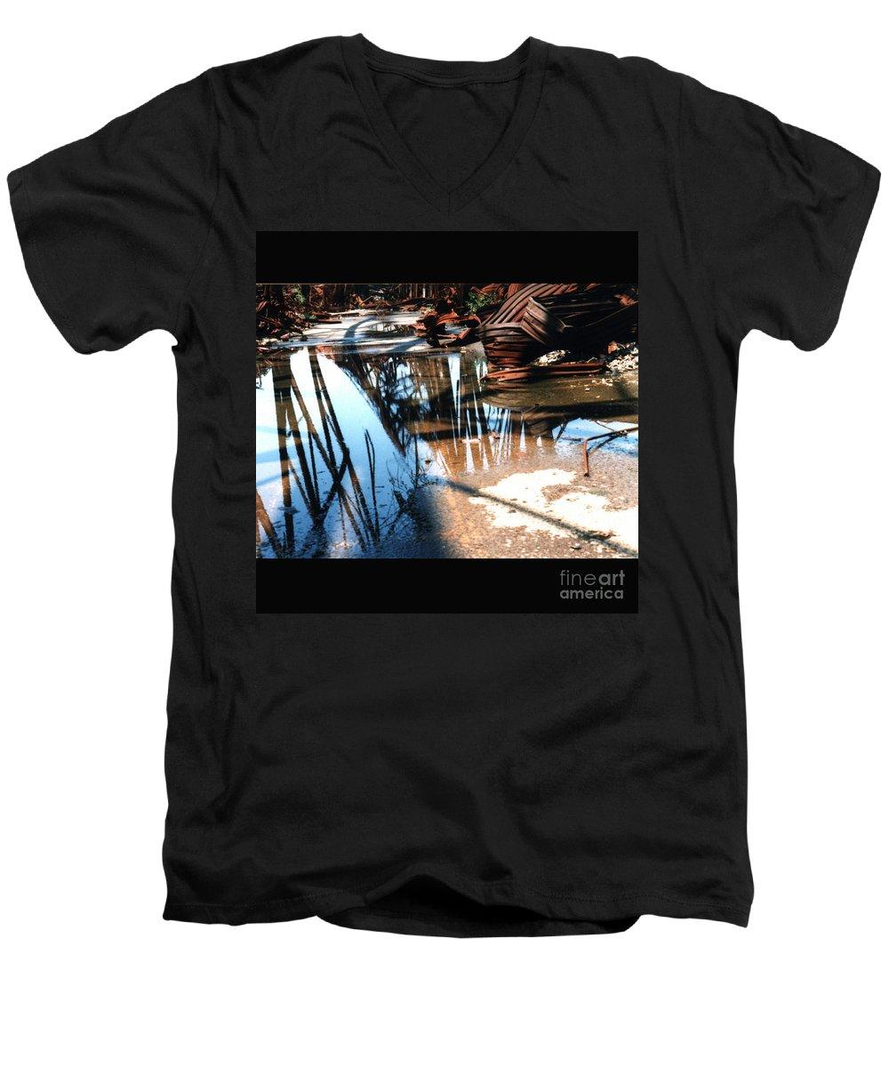 Cityscape Men's V-Neck T-Shirt featuring the photograph Steel River by Ze DaLuz