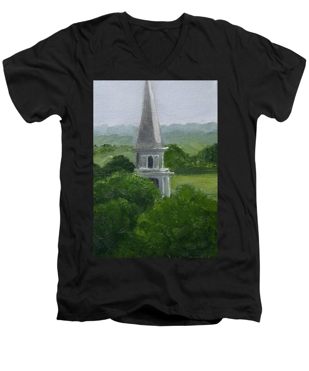 Steeple Men's V-Neck T-Shirt featuring the painting Steeple by Toni Berry