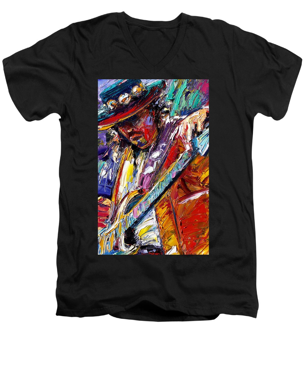 Rock Men's V-Neck T-Shirt featuring the painting Stevie Ray Vaughan Number One by Debra Hurd
