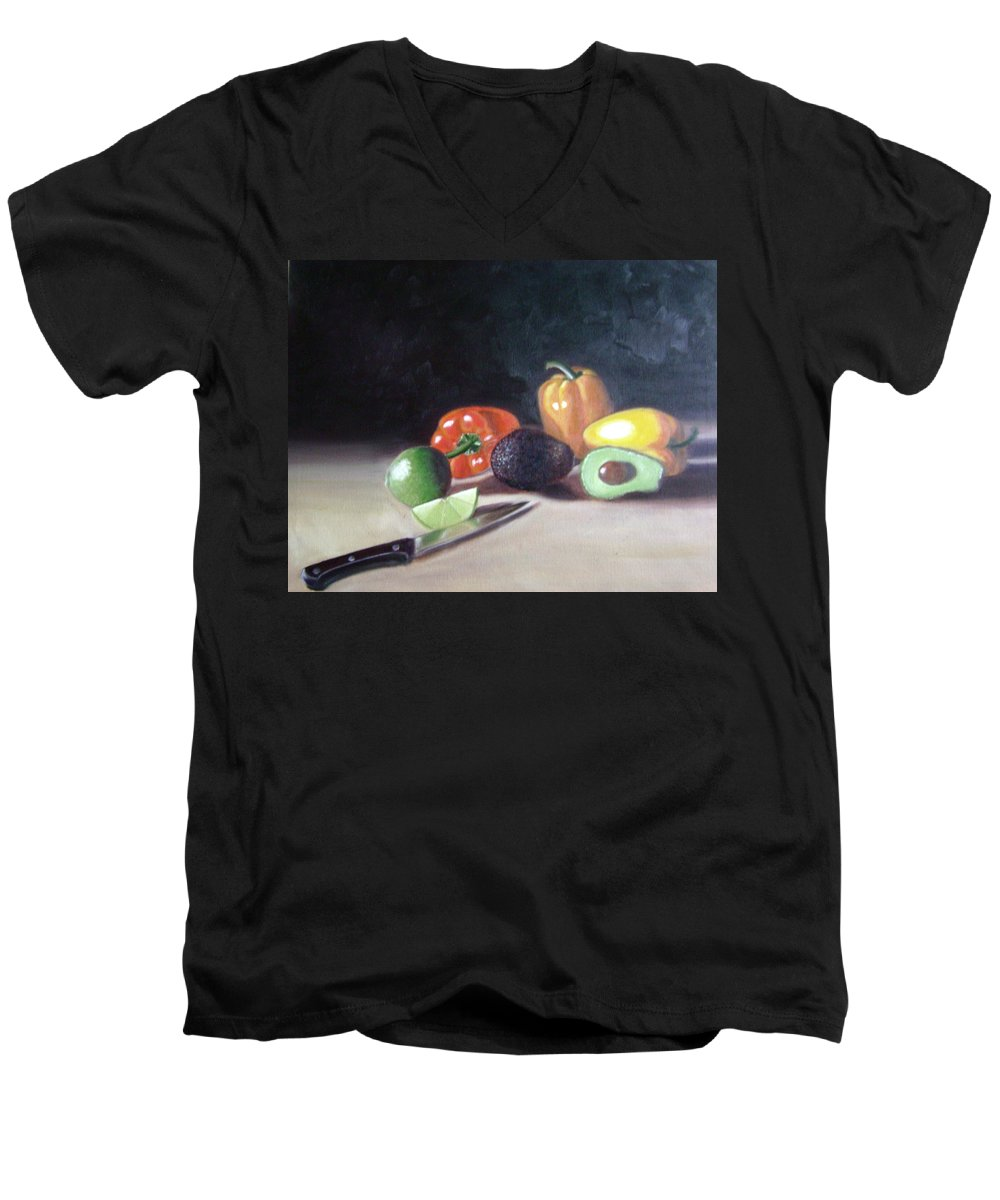 Men's V-Neck T-Shirt featuring the painting Still-life by Toni Berry
