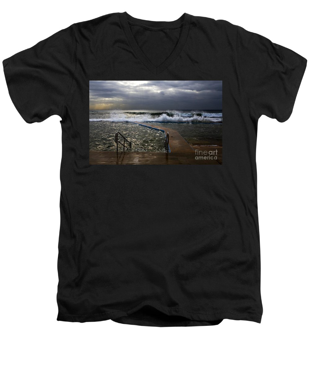 Storm Clouds Collaroy Beach Australia Men's V-Neck T-Shirt featuring the photograph Stormy Morning At Collaroy by Sheila Smart Fine Art Photography
