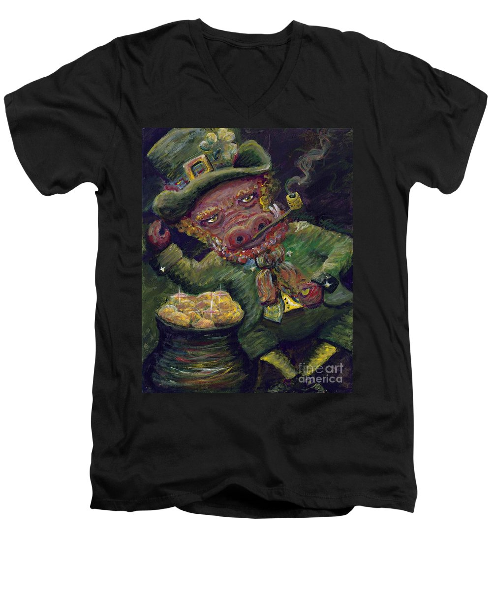 Hog Men's V-Neck T-Shirt featuring the painting St.patricks Day Pig by Nadine Rippelmeyer