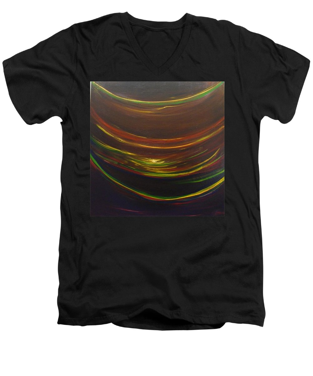 Rainbow Red Yellow Obama Men's V-Neck T-Shirt featuring the painting Strata Surf by Jack Diamond