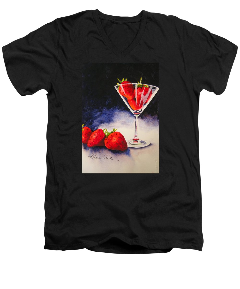 Strawberry Men's V-Neck T-Shirt featuring the painting Strawberrytini by Karen Stark