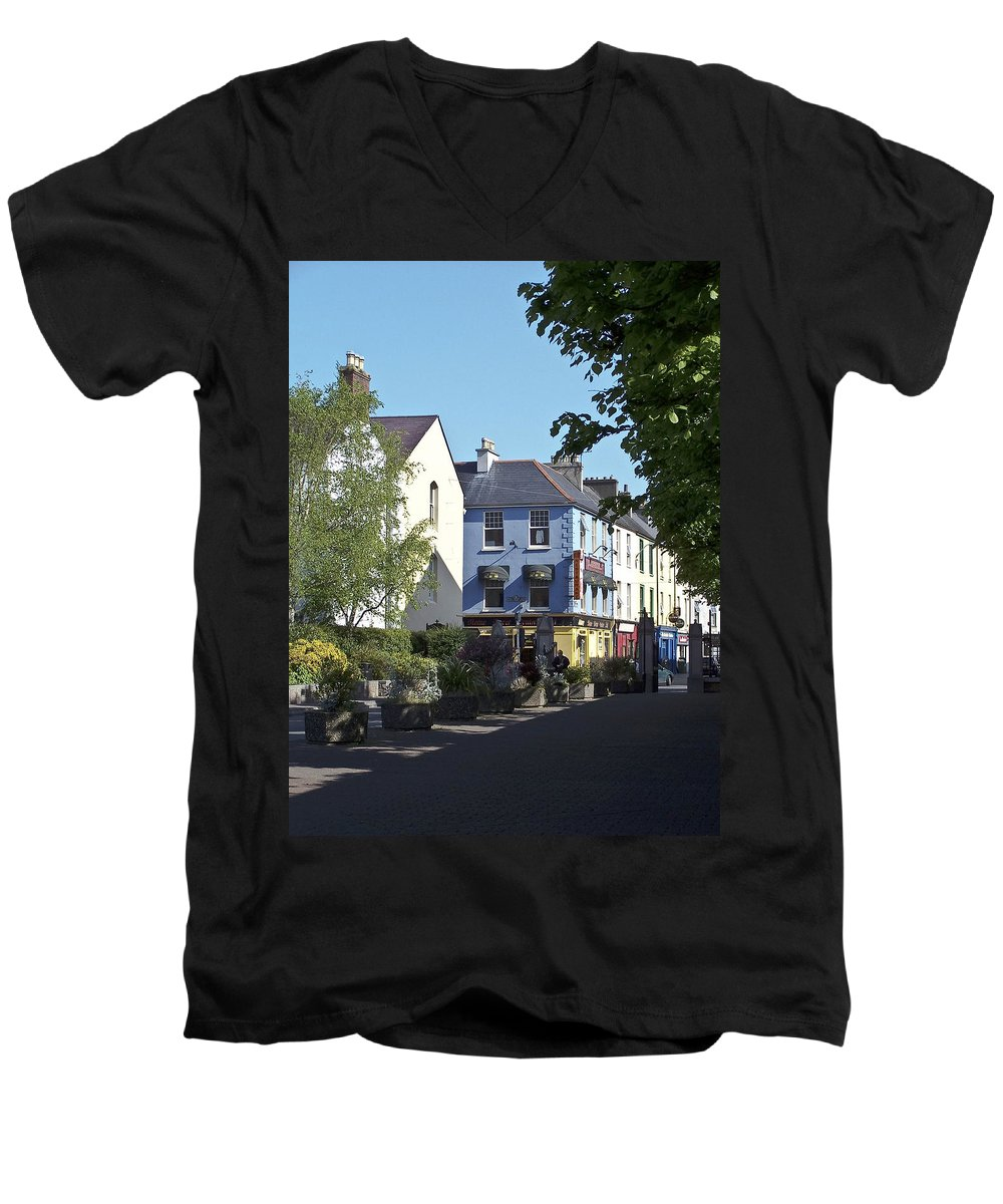 Irish Men's V-Neck T-Shirt featuring the photograph Street Corner In Tralee Ireland by Teresa Mucha
