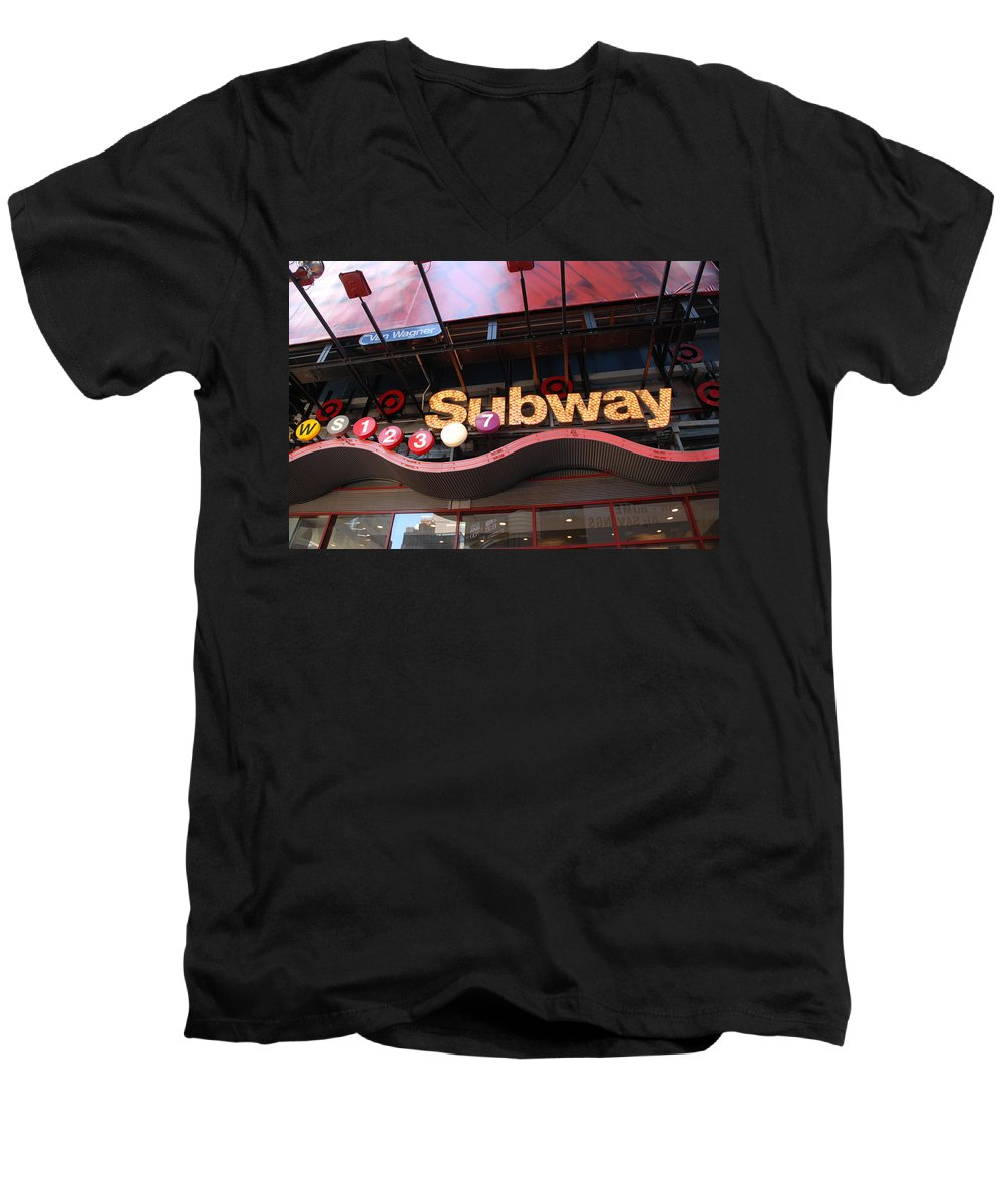 Neon Men's V-Neck T-Shirt featuring the photograph Subway by Rob Hans