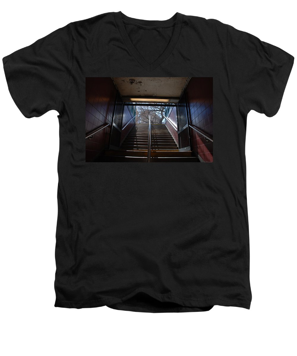Pop Art Men's V-Neck T-Shirt featuring the photograph Subway Stairs To Freedom by Rob Hans