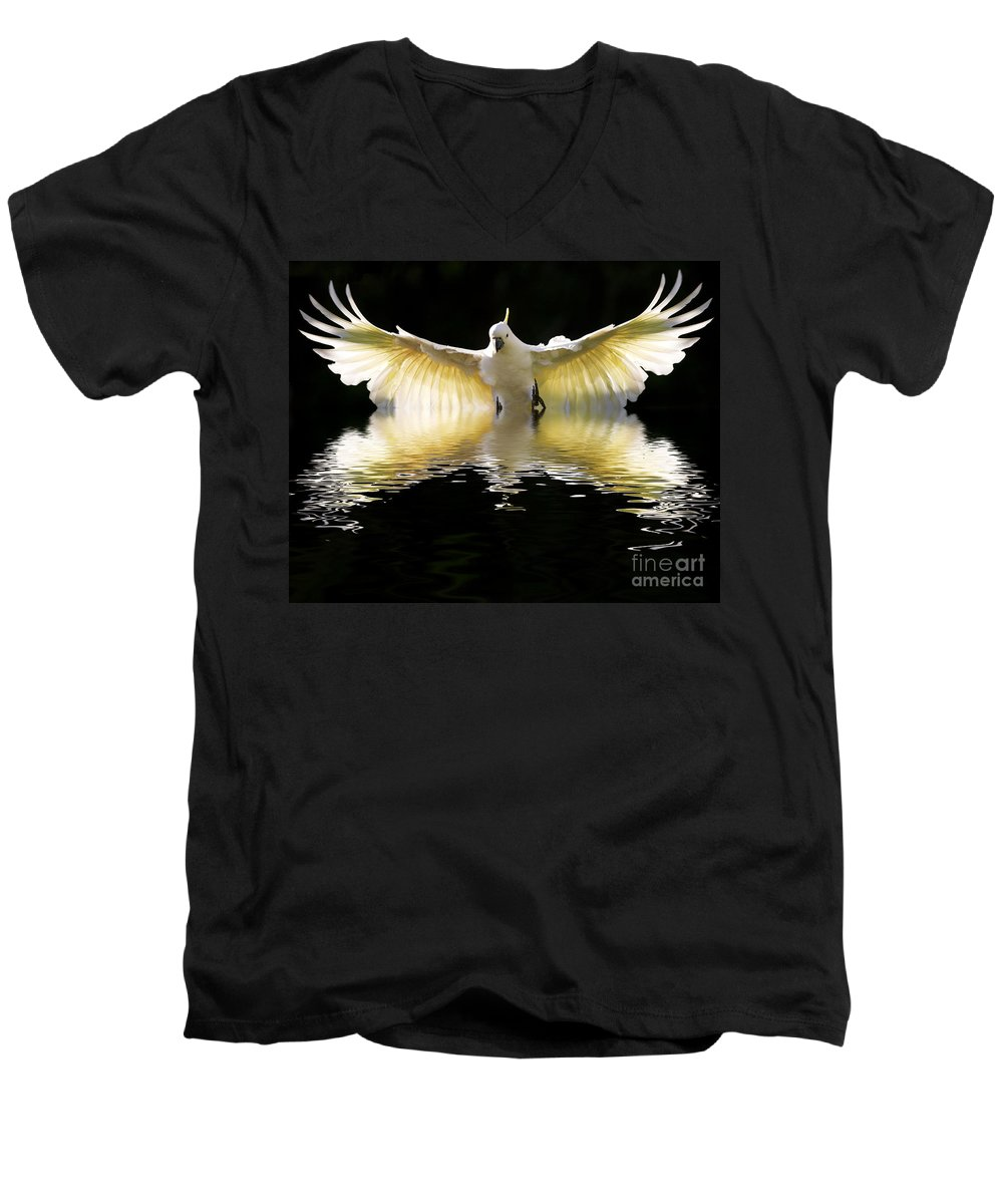 Bird In Flight Men's V-Neck T-Shirt featuring the photograph Sulphur Crested Cockatoo Rising by Sheila Smart Fine Art Photography