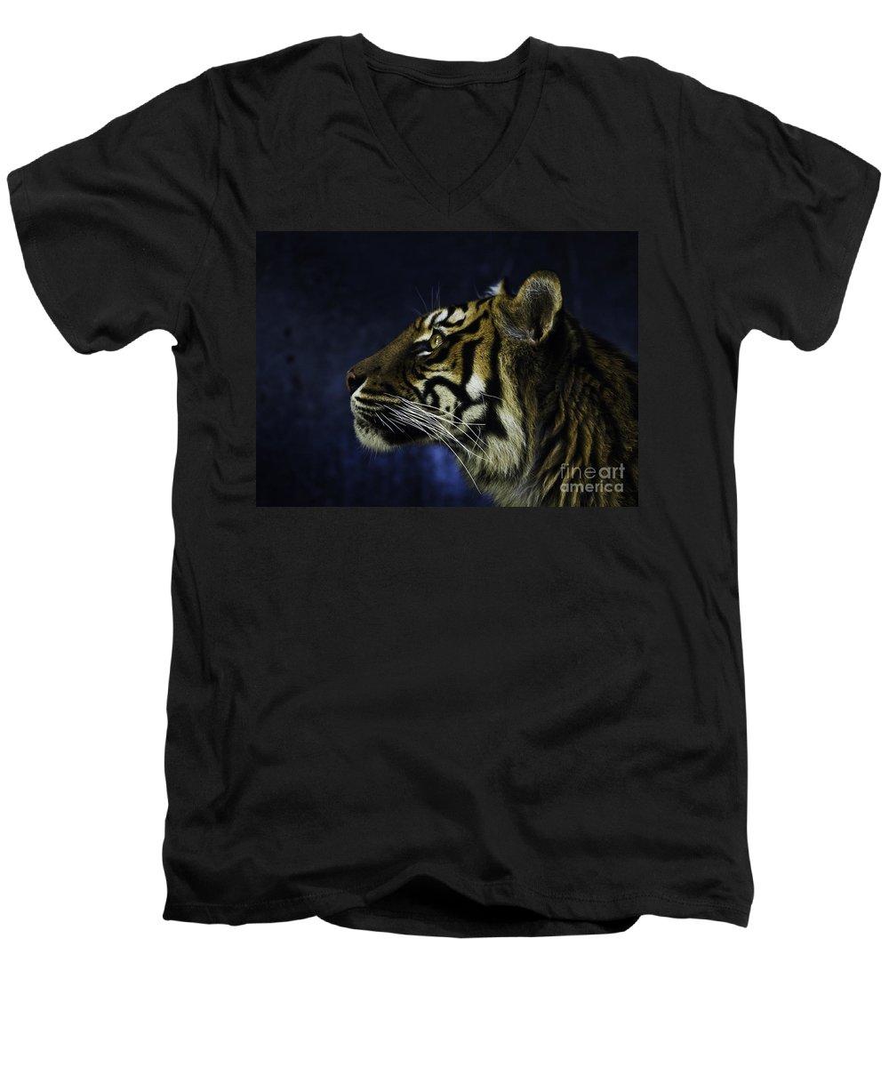 Sumatran Tiger Men's V-Neck T-Shirt featuring the photograph Sumatran Tiger Profile by Avalon Fine Art Photography