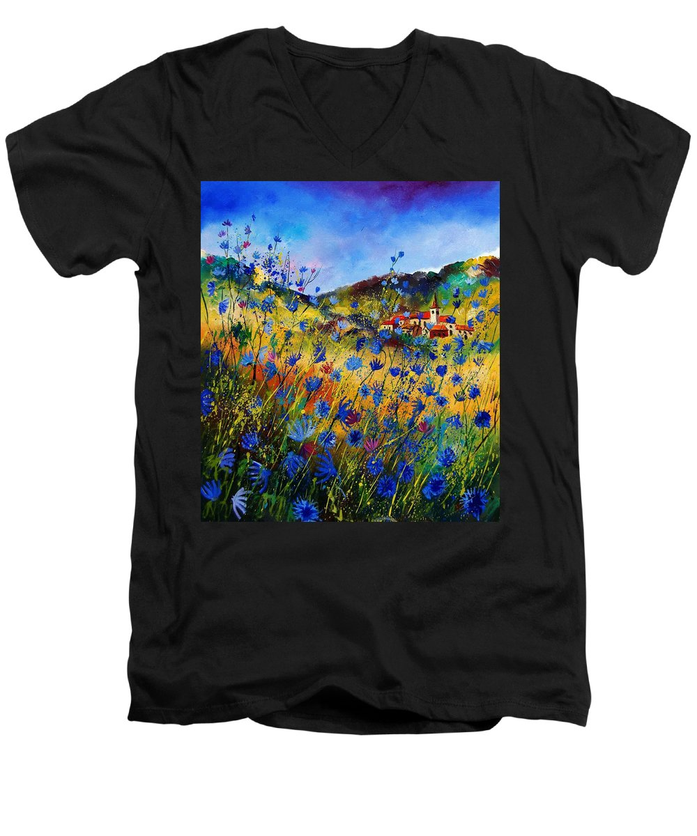Flowers Men's V-Neck T-Shirt featuring the painting Summer Glory by Pol Ledent
