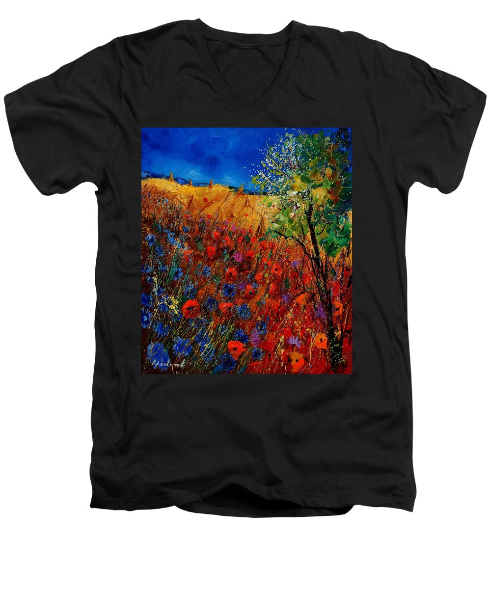 Flowers Men's V-Neck T-Shirt featuring the painting Summer Landscape With Poppies by Pol Ledent