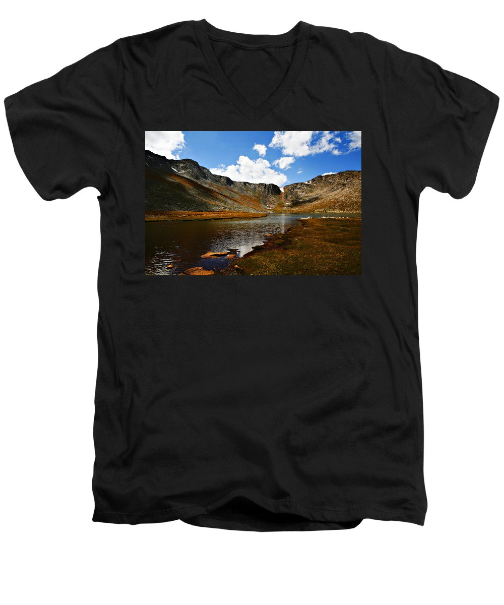 Travel Men's V-Neck T-Shirt featuring the photograph Summit Lake Colorado by Marilyn Hunt