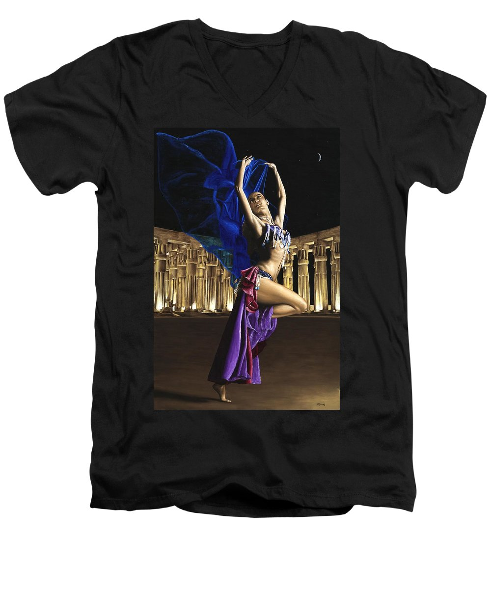 Belly Men's V-Neck T-Shirt featuring the painting Sun Court Dancer by Richard Young