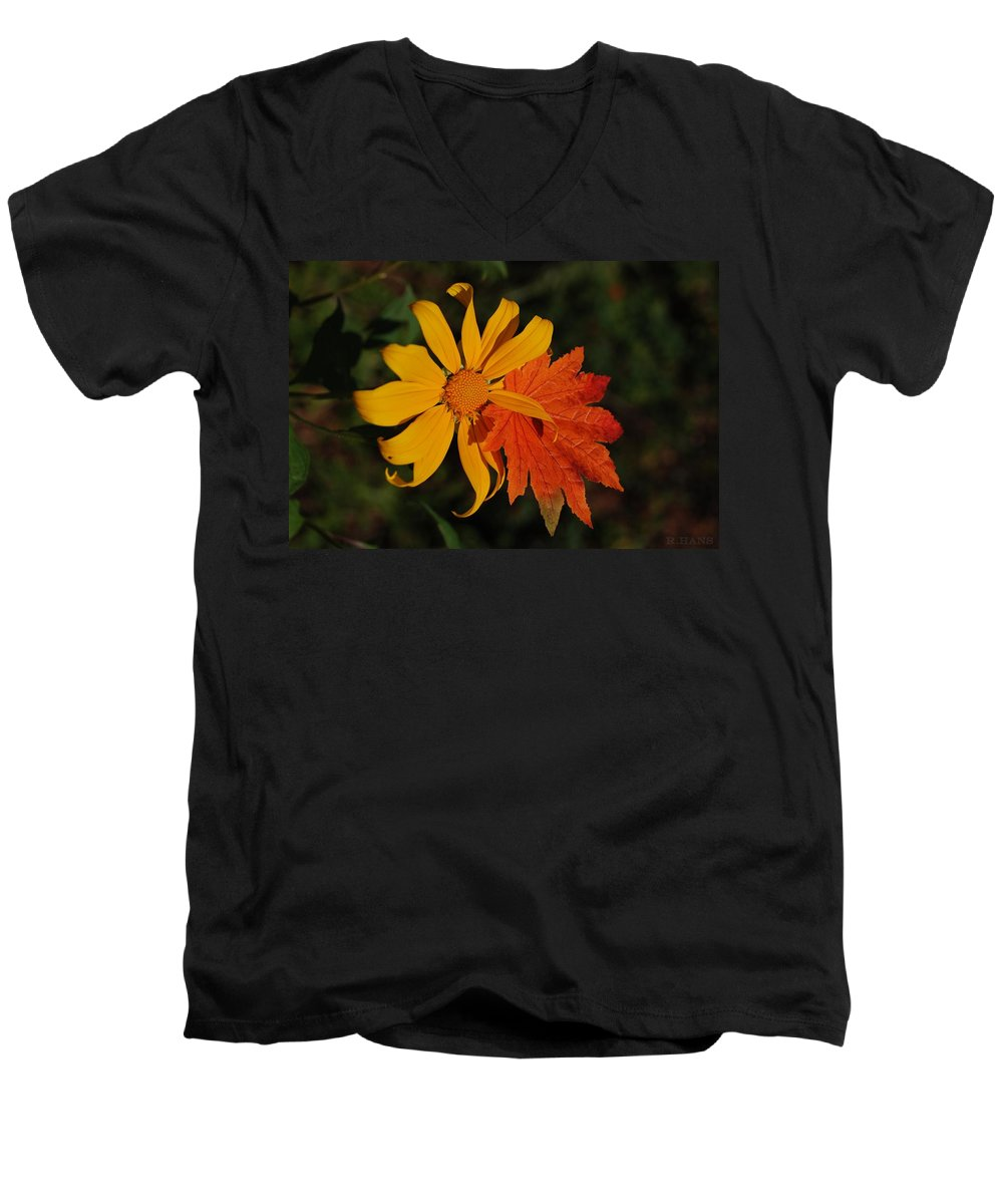 Pop Art Men's V-Neck T-Shirt featuring the photograph Sun Flower And Leaf by Rob Hans