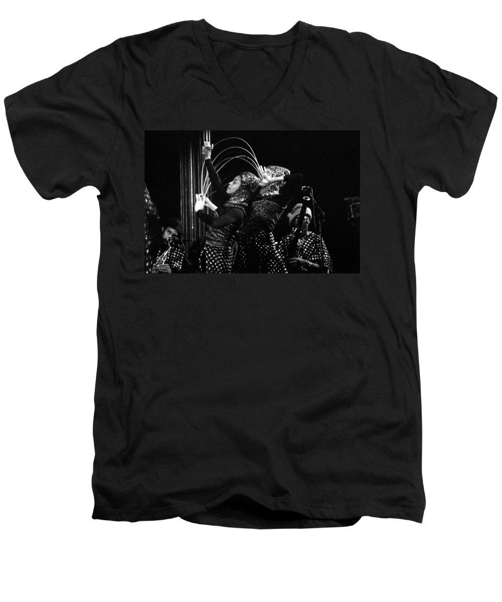 Sun Ra Men's V-Neck T-Shirt featuring the photograph Sun Ra Arkestra And Dancers by Lee Santa