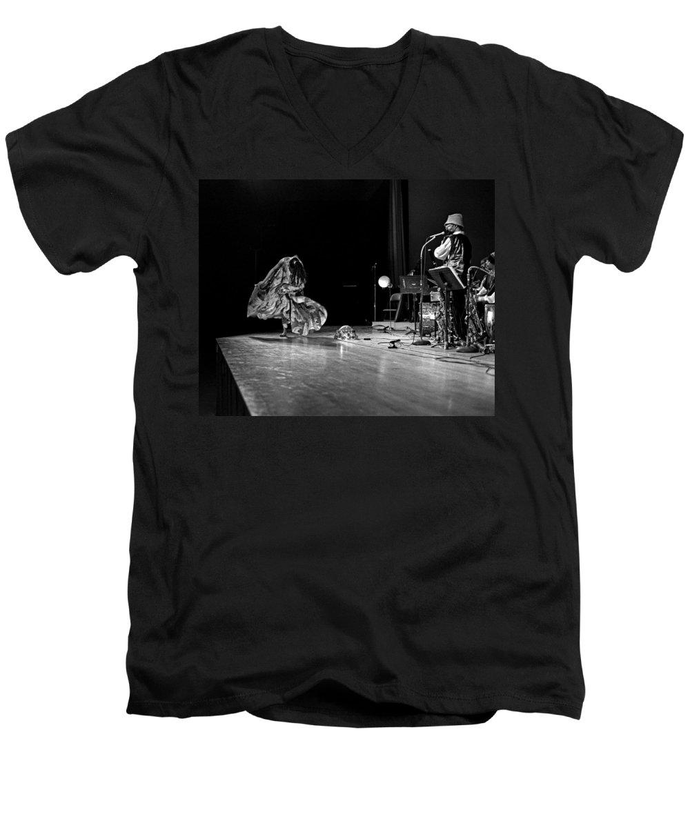 Jazz Men's V-Neck T-Shirt featuring the photograph Sun Ra Arkestra At Freeborn Hall by Lee Santa