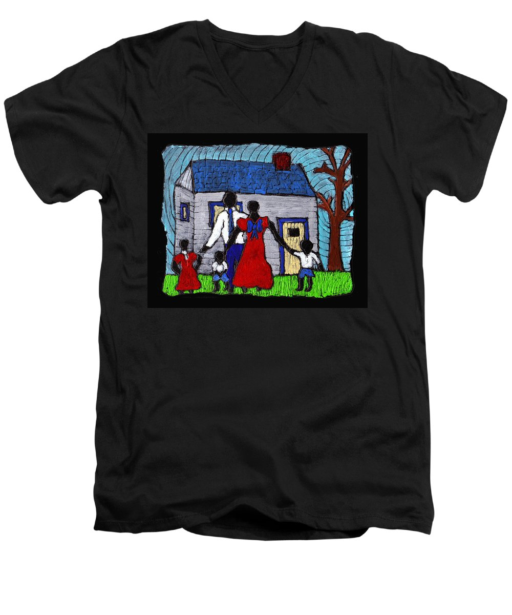Family Men's V-Neck T-Shirt featuring the painting Sunday Morning Finest by Wayne Potrafka
