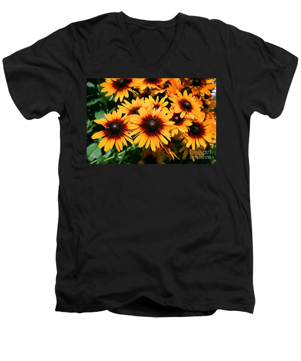 Sunflowers Men's V-Neck T-Shirt featuring the photograph Sunflowers by Dean Triolo