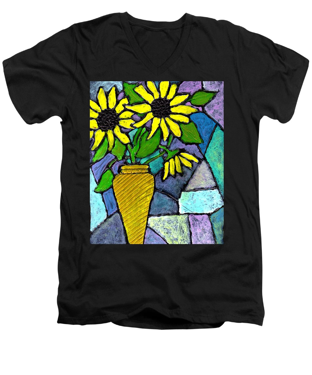 Flowers Men's V-Neck T-Shirt featuring the painting Sunflowers In A Vase by Wayne Potrafka