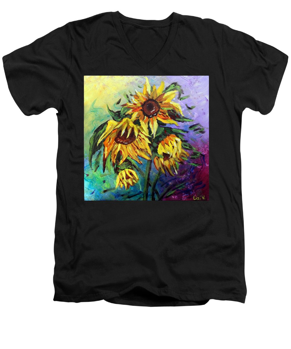 Art Men's V-Neck T-Shirt featuring the painting Sunflowers In The Rain by Luiza Vizoli