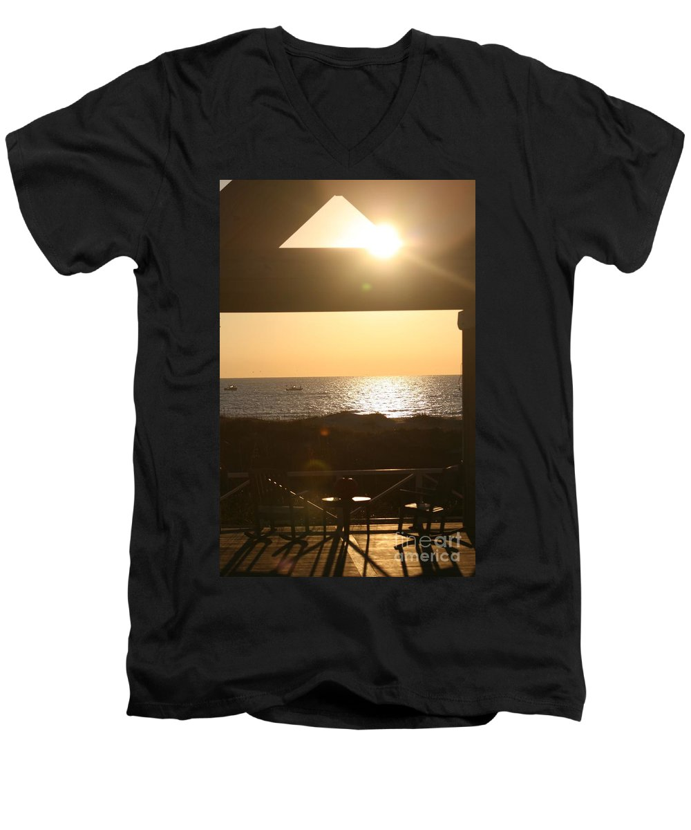 Sunrise Men's V-Neck T-Shirt featuring the photograph Sunrise Through The Pavilion by Nadine Rippelmeyer