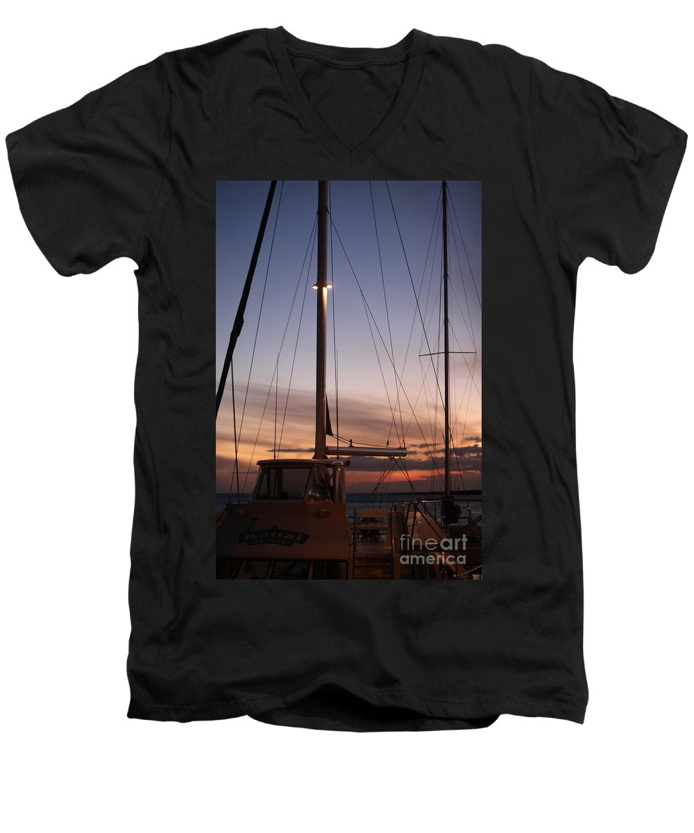 Sunset Men's V-Neck T-Shirt featuring the photograph Sunset And Sailboat by Nadine Rippelmeyer
