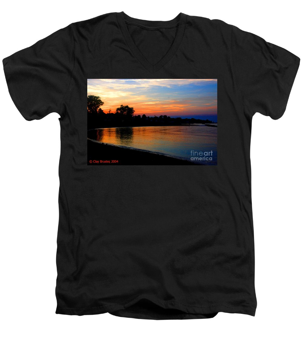 Clay Men's V-Neck T-Shirt featuring the photograph Sunset At Colonial Beach Cove by Clayton Bruster