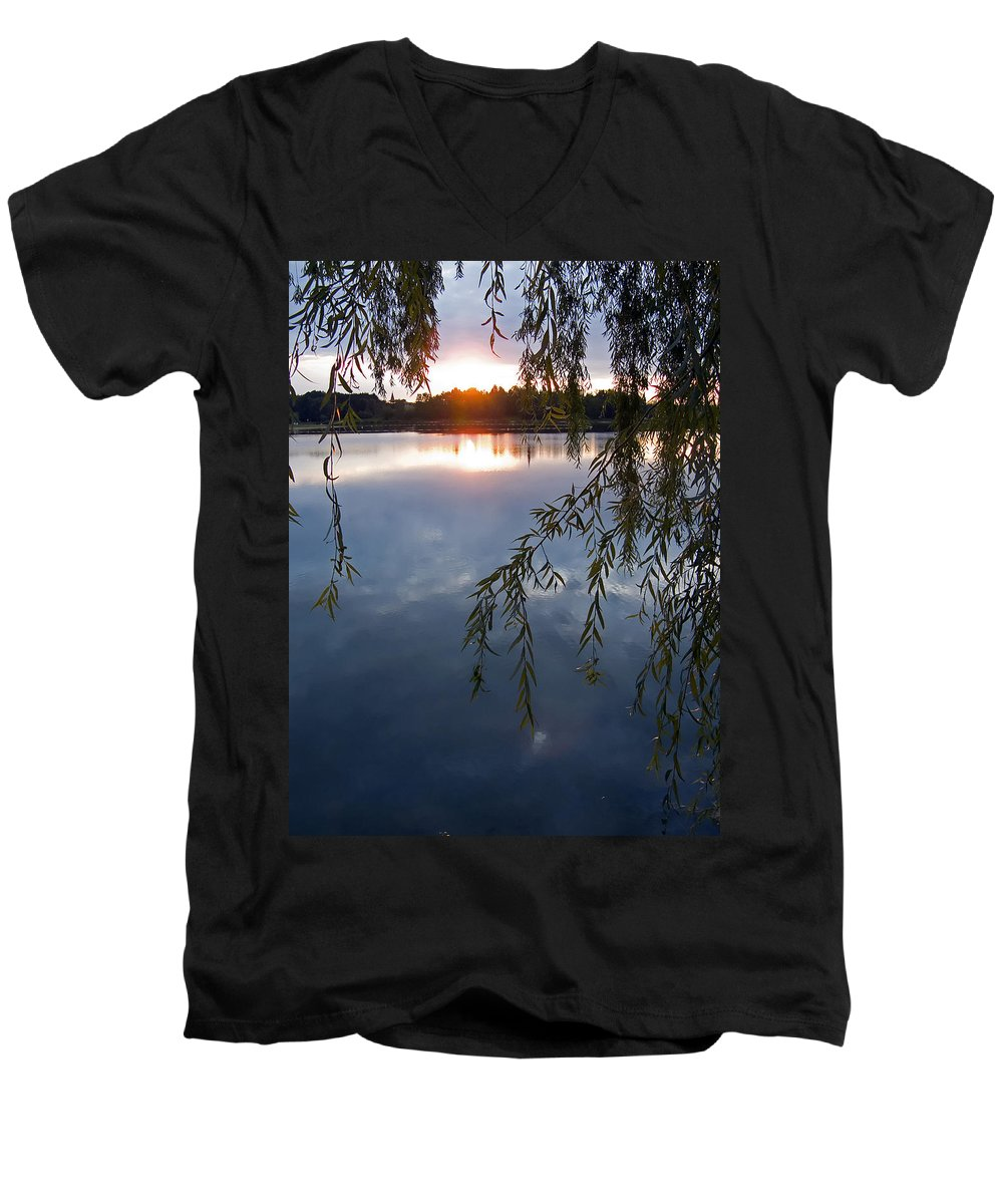 Nature Men's V-Neck T-Shirt featuring the photograph Sunset by Daniel Csoka
