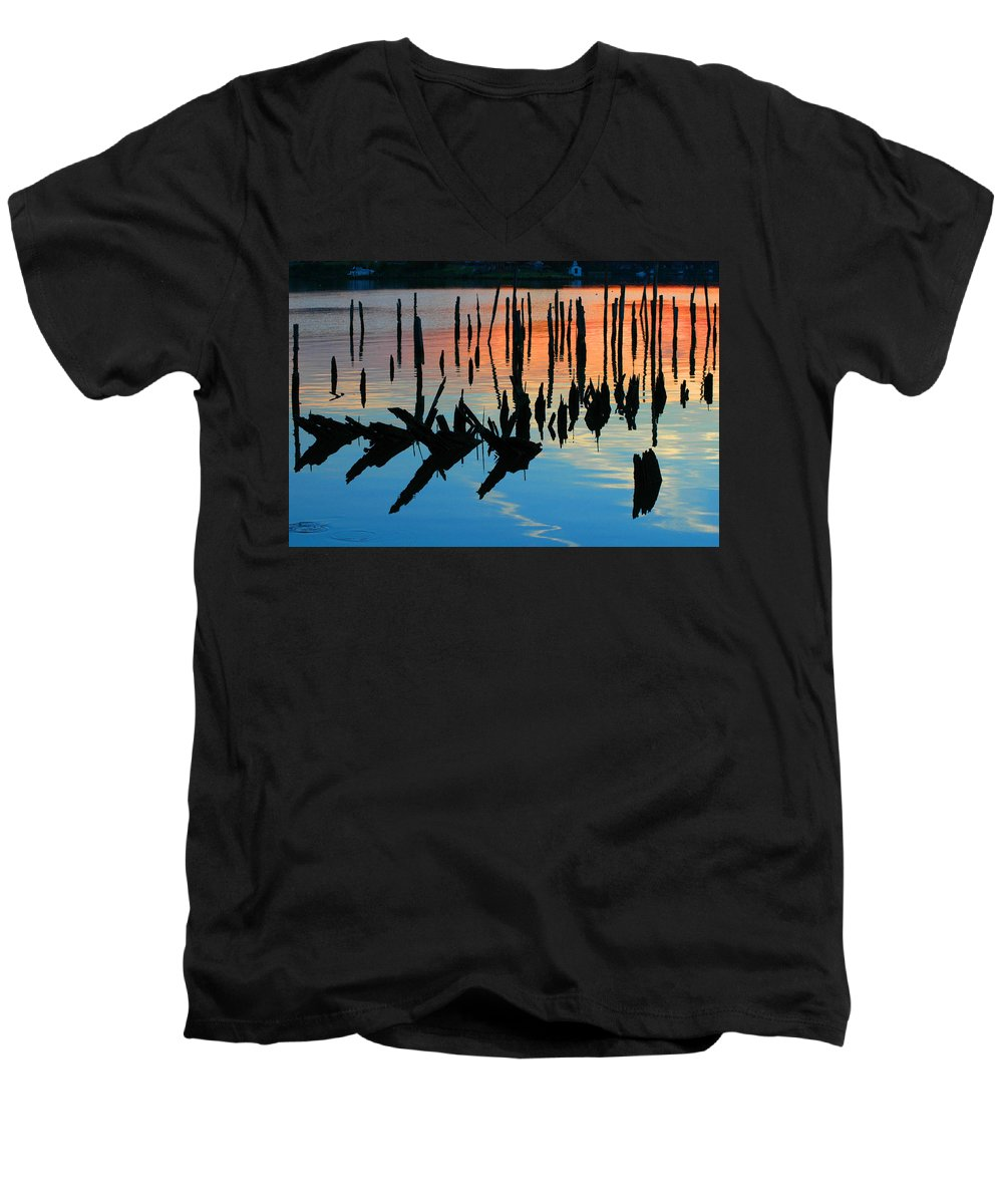 Clay Men's V-Neck T-Shirt featuring the photograph Sunset In Colonial Beach Virginia by Clayton Bruster