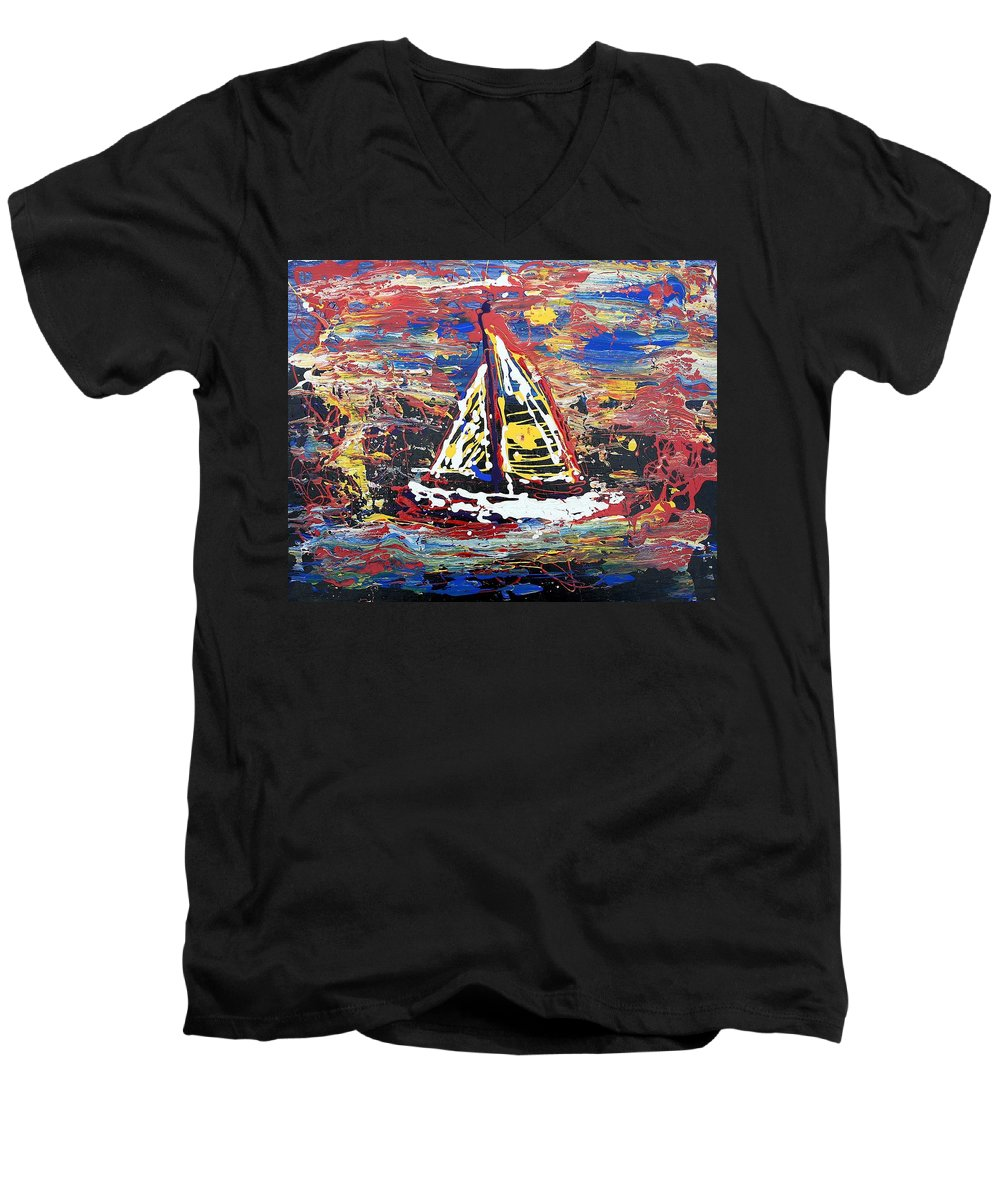 Sailboat Men's V-Neck T-Shirt featuring the painting Sunset On The Lake by J R Seymour