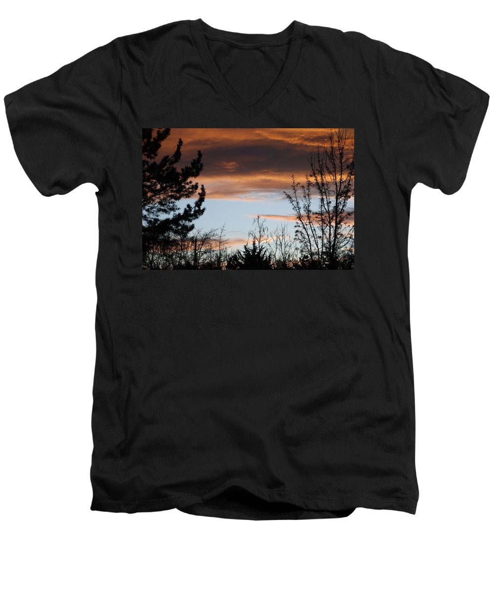 Sunset Men's V-Neck T-Shirt featuring the photograph Sunset Thru The Trees by Rob Hans