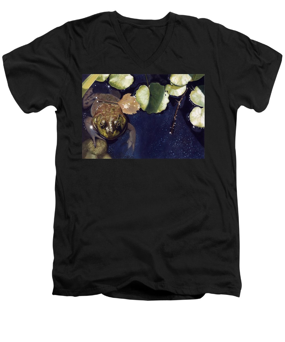 Frog Men's V-Neck T-Shirt featuring the painting Sunspots by Denny Bond