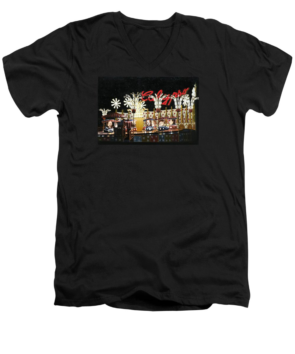 Surreal Men's V-Neck T-Shirt featuring the painting Surreal Carnival by Dave Martsolf