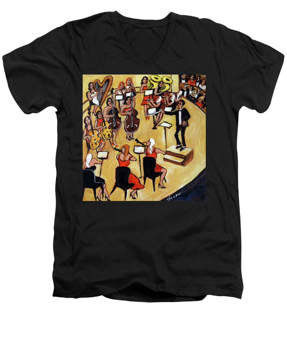 Carnegie Hall Orchestra Men's V-Neck T-Shirt featuring the painting Symphony by Valerie Vescovi