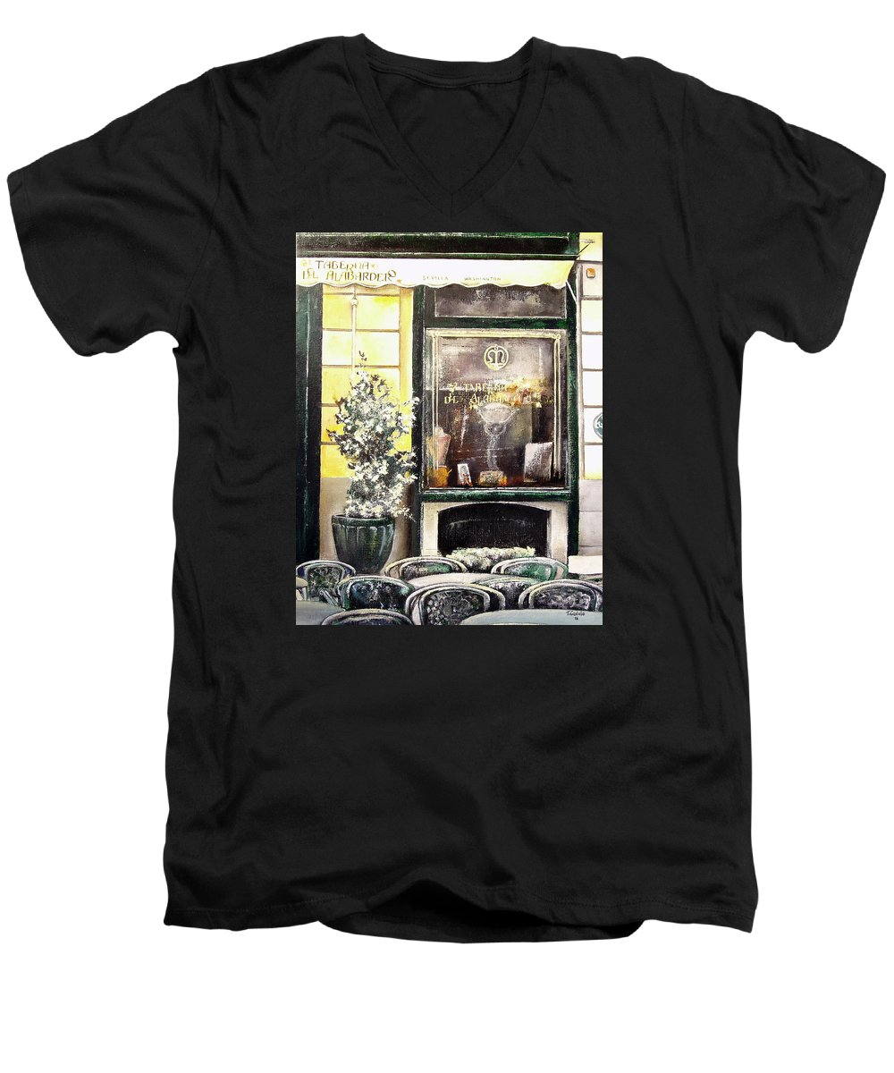 Old Men's V-Neck T-Shirt featuring the painting Taberna Del Alabardero-madrid by Tomas Castano