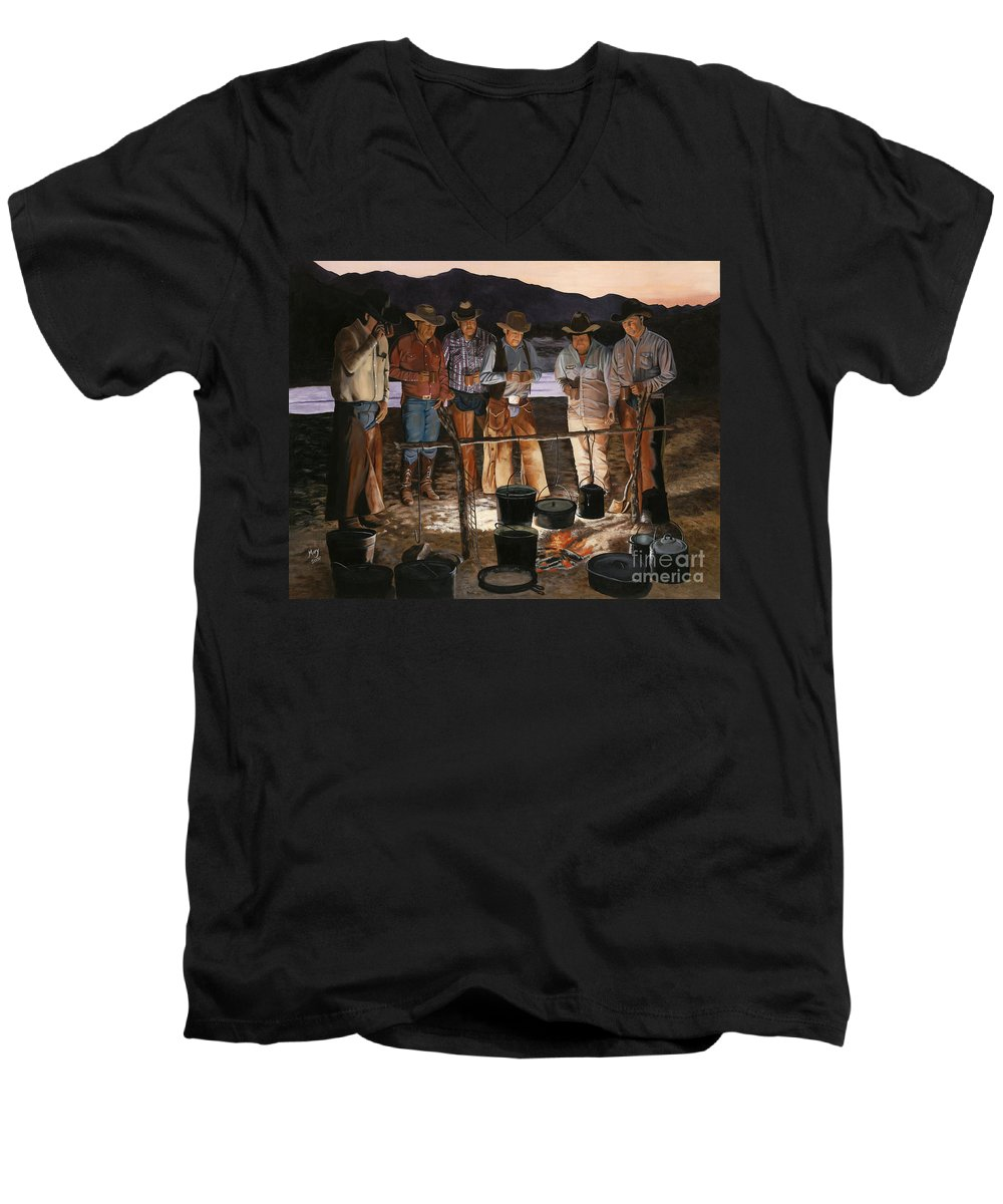 Arizona Men's V-Neck T-Shirt featuring the painting Tall Tales by Mary Rogers