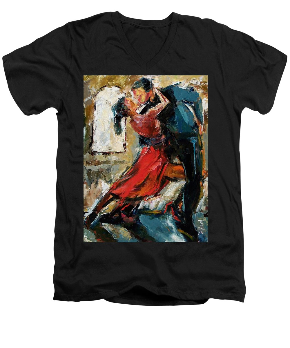 Tango Men's V-Neck T-Shirt featuring the painting Tango By The Window by Debra Hurd