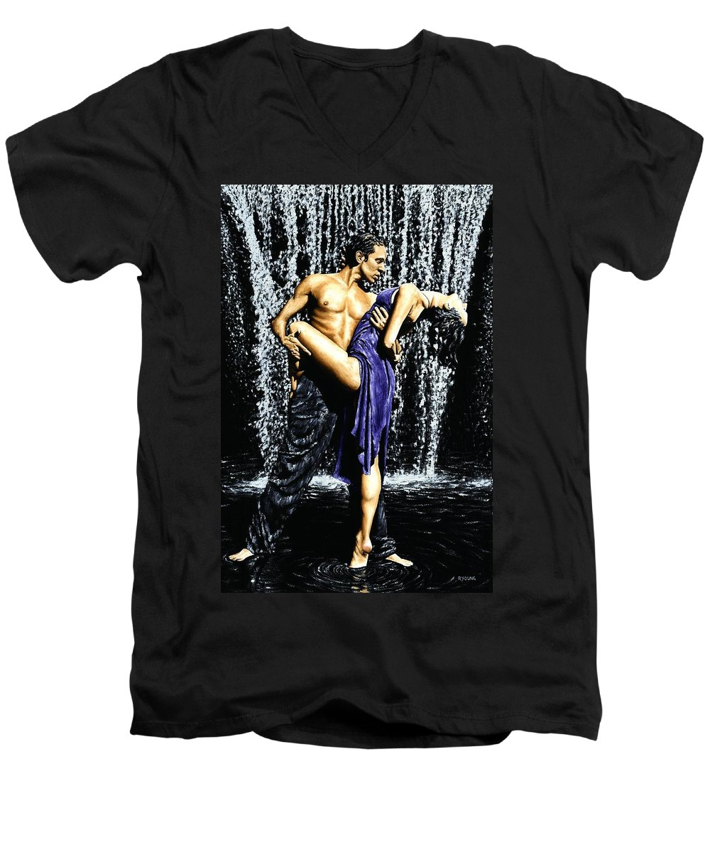Tango Men's V-Neck T-Shirt featuring the painting Tango Cascade by Richard Young