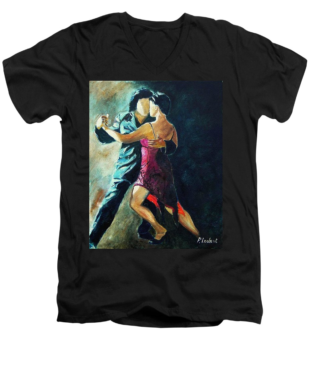 Tango Men's V-Neck T-Shirt featuring the painting Tango by Pol Ledent